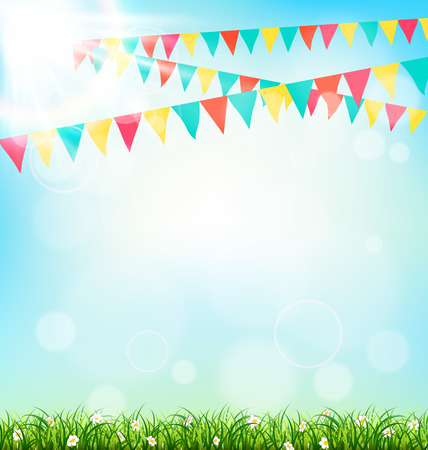 Illustration for Celebration background with buntings grass and sunlight on sky background - Royalty Free Image