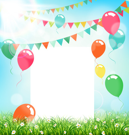 Illustration pour Celebration background with frame buntings air balls grass and sunlight on sky background - image libre de droit