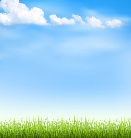 Illustration pour Green grass lawn with clouds on blue sky - image libre de droit