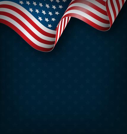 Illustration pour Wavy USA national flag on blue background - image libre de droit