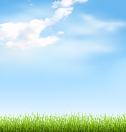 Illustration pour Green grass lawn with clouds on blue sky - image libre de droit