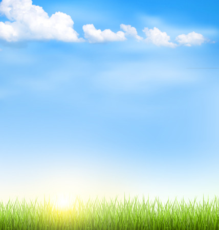 Illustration pour Green grass lawn with clouds and sun on blue sky - image libre de droit
