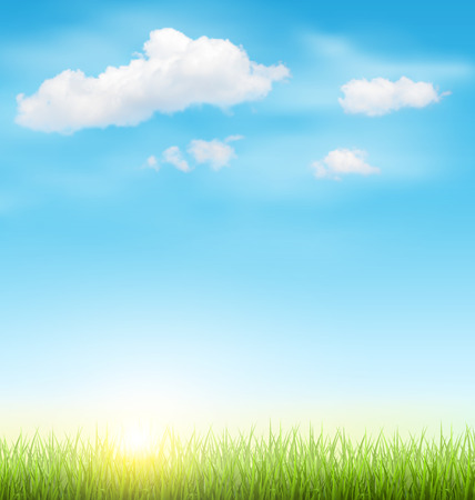 Ilustración de Green Grass Lawn with Clouds and Sun on Light Blue Sky - Imagen libre de derechos