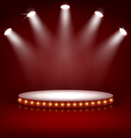 Ilustración de Illuminated Festive Stage Podium with Lamps on Red Background - Imagen libre de derechos