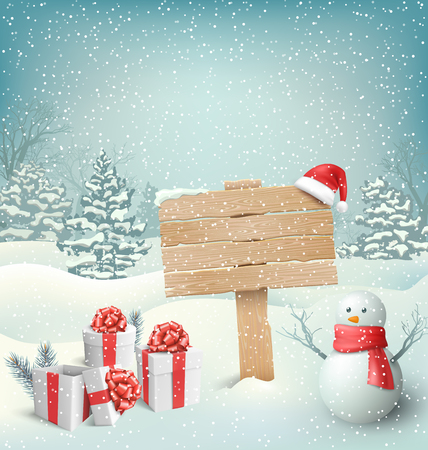 Illustration pour Winter Christmas Background with Wooden Signpost Snowman and Gift Boxes - image libre de droit