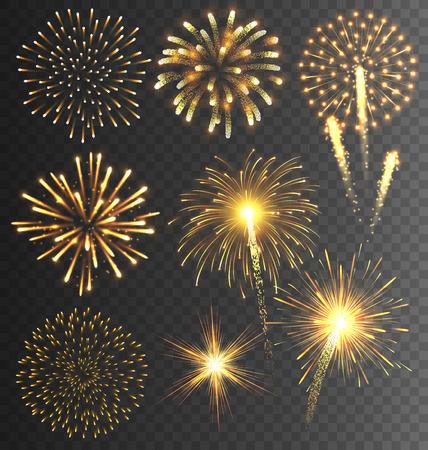 Illustration pour Festive Golden Firework Salute Burst on Transparent Background - image libre de droit
