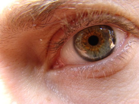 Foto de human eye looking into the distance in front of him - Imagen libre de derechos