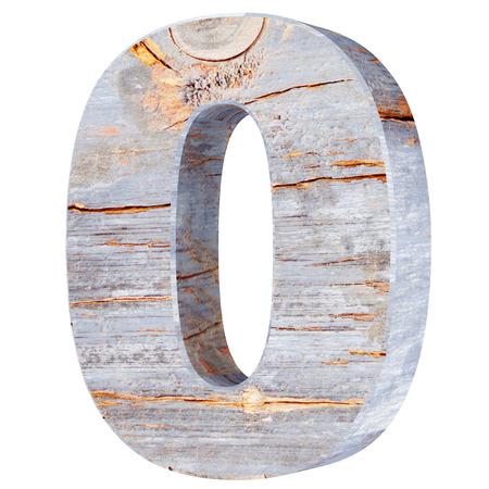 Photo pour Decorative wooden alphabet digit zero symbol - 0. 3d rendering illustration. Isolated on white background - image libre de droit
