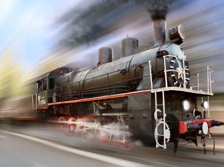 steam engine, locomotive in motion blur