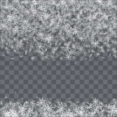 Illustration pour Falling snowflakes border on transparent background. - image libre de droit