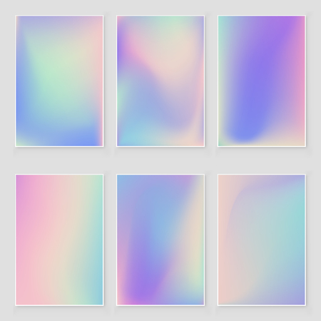Illustration pour Holographic foil  gradient  iridescent  background set Bright trendy minimal hologram backdrop. Empty template for design  cover, book, printing, gift card and fashion - image libre de droit