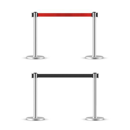 Illustration for Retractable belt stanchion set. Portable ribbon barrier. black and red fencing tape. Chrome stanchion - Royalty Free Image