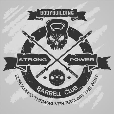 Ilustración de Bodybuilding emblem in vintage style. Vector illustration. - Imagen libre de derechos