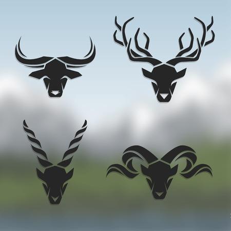 Ilustración de Logos horned animals. On blurred background. Buffalo deer mountain goat mountain sheep. - Imagen libre de derechos