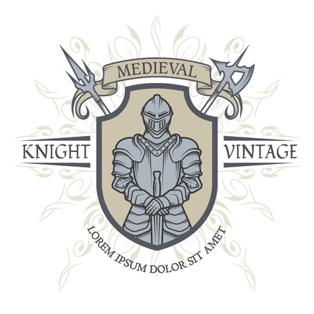 Illustration for Knight in armor. The emblem in the style of the Middle Ages. Vector illustration. - Royalty Free Image