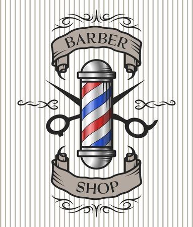Photo pour Barber shop emblem. Barber pole,scissors and ribbon for text in an old vintage style. Option in color. - image libre de droit