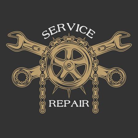 Illustration pour Service repair and maintenance. Emblem logo vintage style. - image libre de droit