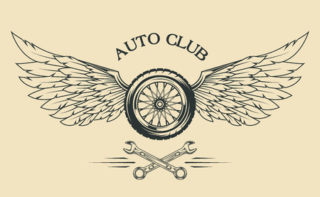 Illustration for Wheels spoked, feathers, wings vintage emblem in the classical style. - Royalty Free Image