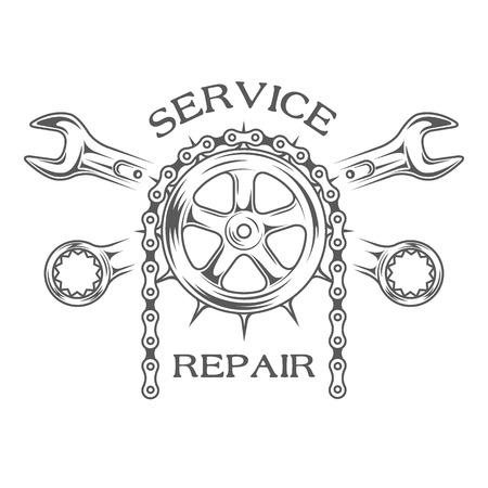 Illustration pour Service maintenance and repair label emblem. - image libre de droit