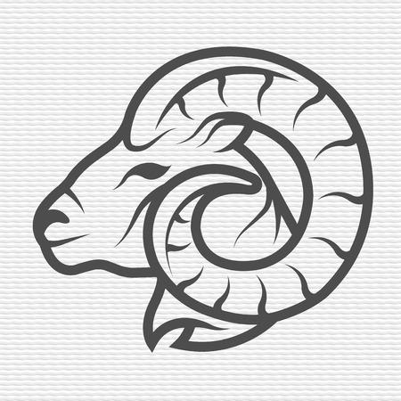 Ilustración de Ram symbol emblem Contour Design - Imagen libre de derechos