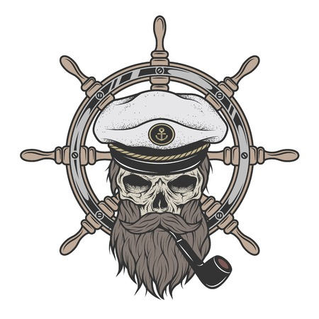 Ilustración de Captain Skull in a hat with a beard and a pipe on a background of sea helm. - Imagen libre de derechos