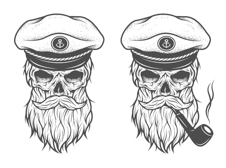 Ilustración de Captain Skull in a hat with a beard and a pipe. Two options. - Imagen libre de derechos