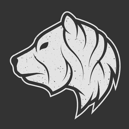 Illustration pour Bear symbol, the logo for dark background. Vintage linear style. - image libre de droit