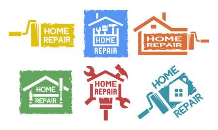 Ilustración de A set of emblem, labels on the topic of home repair. The monochrome style. - Imagen libre de derechos