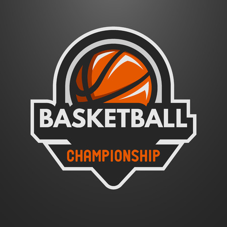 Basketball sports logo, label, emblem on a dark background.