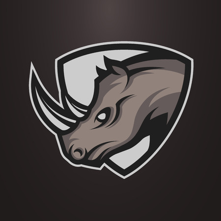 Illustration for Rhino symbol, emblem or logo for a sports team. Vector illustration. - Royalty Free Image