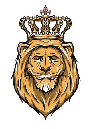 Illustration pour The head of a lion with a crown. Color version. Vector illustration. - image libre de droit