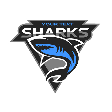 Ilustración de Sharks logo for a sport team. Vector illustration. - Imagen libre de derechos
