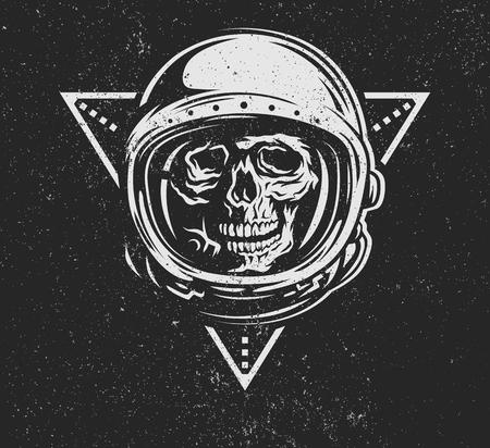 Ilustración de Lost in space. Dead astronaut in spacesuit and geometric element. - Imagen libre de derechos