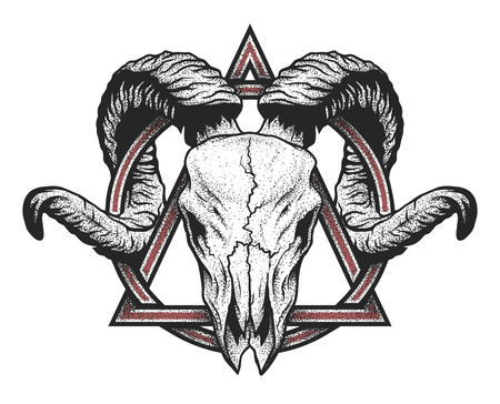 Illustration for Ram skull with a geometric symbol. Dotwork style. - Royalty Free Image