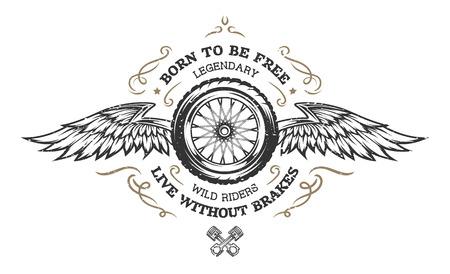 Ilustración de Wheel and wings in vintage style. Emblem, symbol, t-shirt graphic. - Imagen libre de derechos