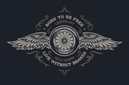 Illustration pour Wheel and wings in vintage style. Emblem, symbol, t-shirt graphic. For dark background. - image libre de droit