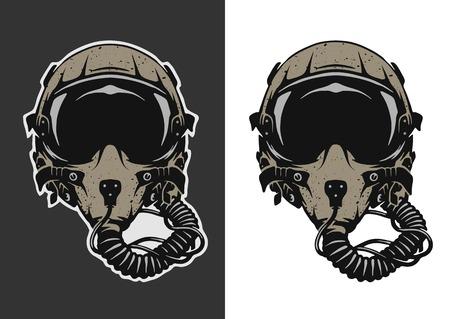 Illustration pour Fighter Pilot Helmet for dark and white background. - image libre de droit