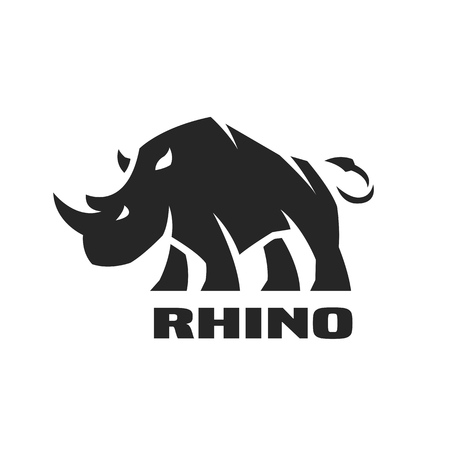 Illustration for Angry rhino. Monochrome icon - Royalty Free Image