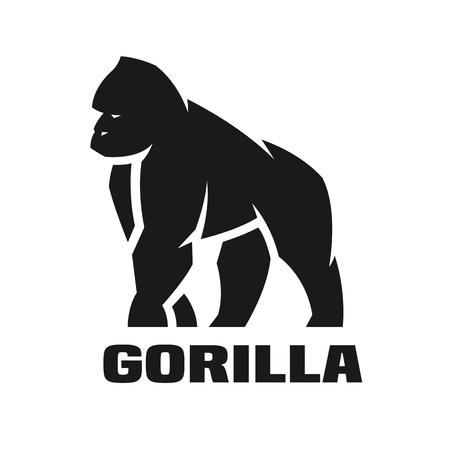 Photo pour Gorilla monochrome logo. Vector illustration. - image libre de droit