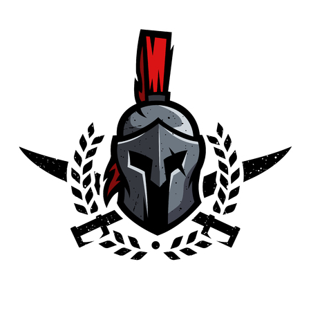 Illustration pour Wreath, swords and helmet of the Spartan warrior. - image libre de droit