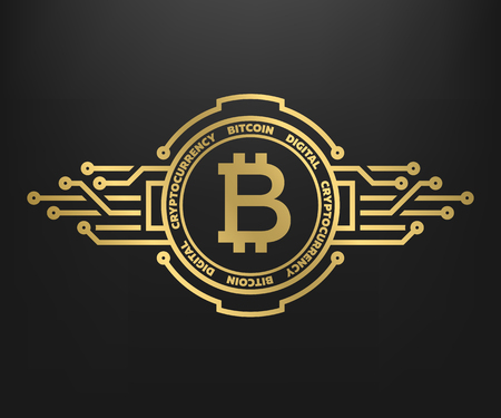 Illustrazione per Bitcoin, abstract golden symbol of internet money. Digital Crypto currency symbol. - Immagini Royalty Free