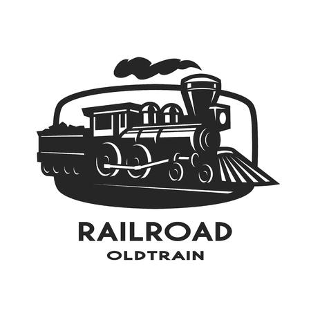 Illustration pour Old steam train emblem symbol design. - image libre de droit