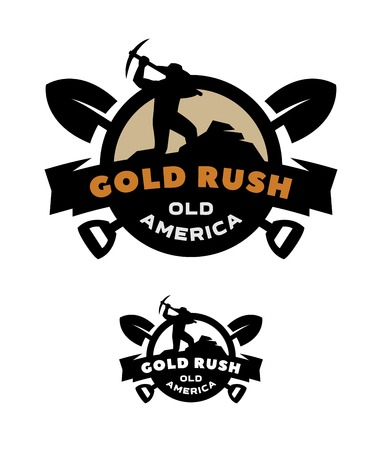 Illustration pour Gold rush emblem symbol design. - image libre de droit