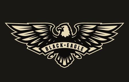 Ilustración de Black eagle symbol, emblem. - Imagen libre de derechos
