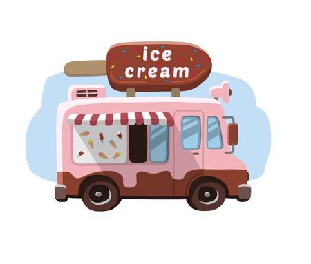 Ilustración de Van with ice cream, mobile shop. - Imagen libre de derechos