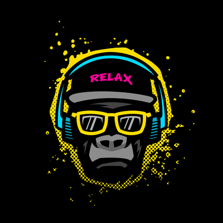 Ilustración de Monkey with glasses and headphones. Illustration in bright colors on grunge texture background. - Imagen libre de derechos