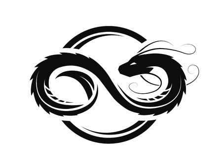 Ilustración de Dragon in the form of infinity, circle logo, symbol. - Imagen libre de derechos