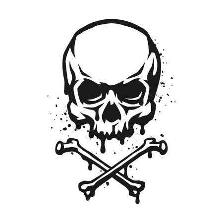 Illustration pour Skull and crossbones in grunge style. - image libre de droit
