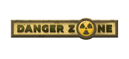 Illustration pour Danger zone, grungy emblem, sign. Vector illustration. - image libre de droit