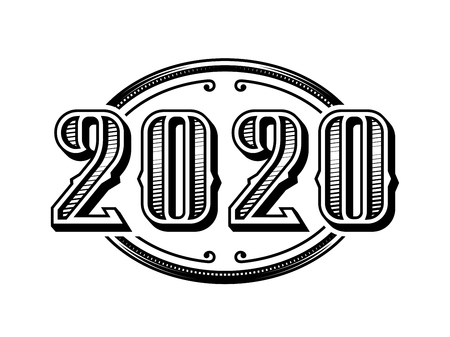 Ilustración de 2020 numbers retro design in black and white style. - Imagen libre de derechos
